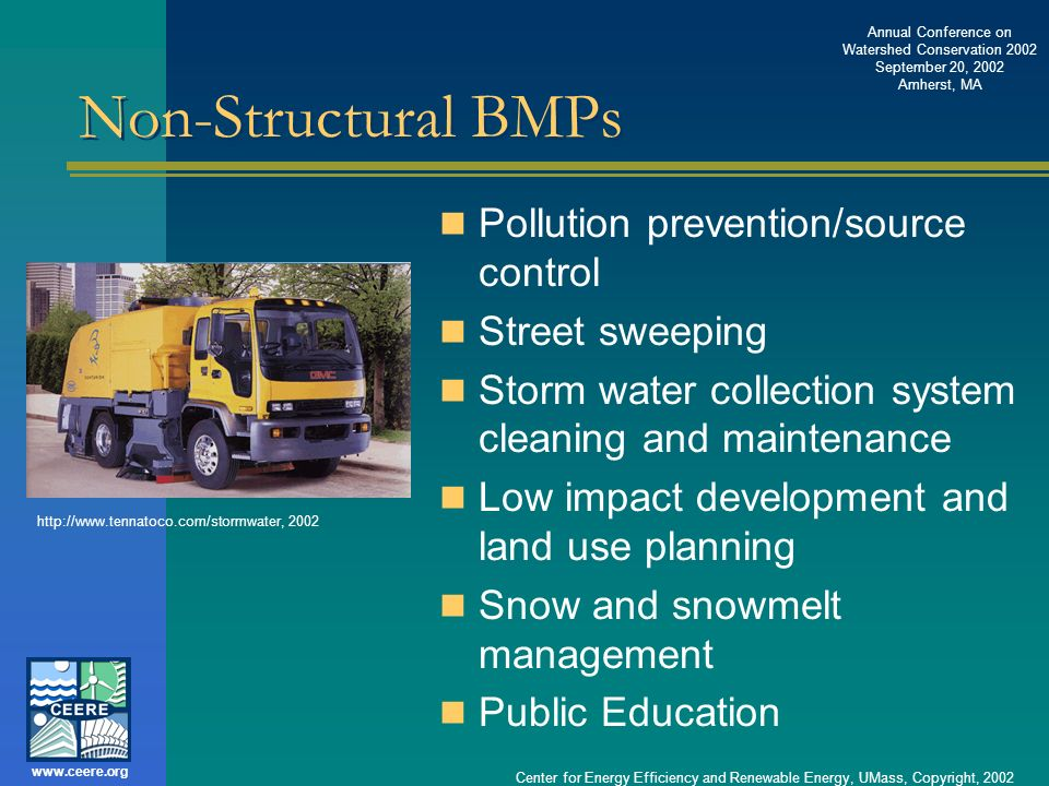 Non-Structural BMPs Pollution prevention/source control