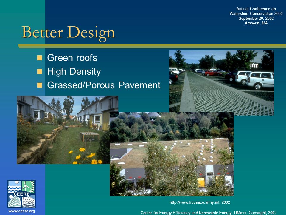Better Design Green roofs High Density Grassed/Porous Pavement