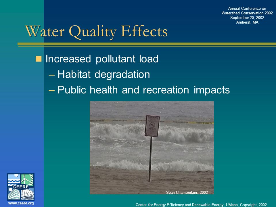 Water Quality Effects Increased pollutant load Habitat degradation