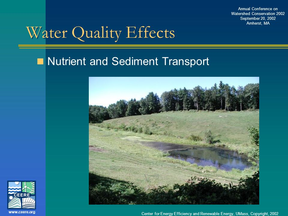 Water Quality Effects Nutrient and Sediment Transport