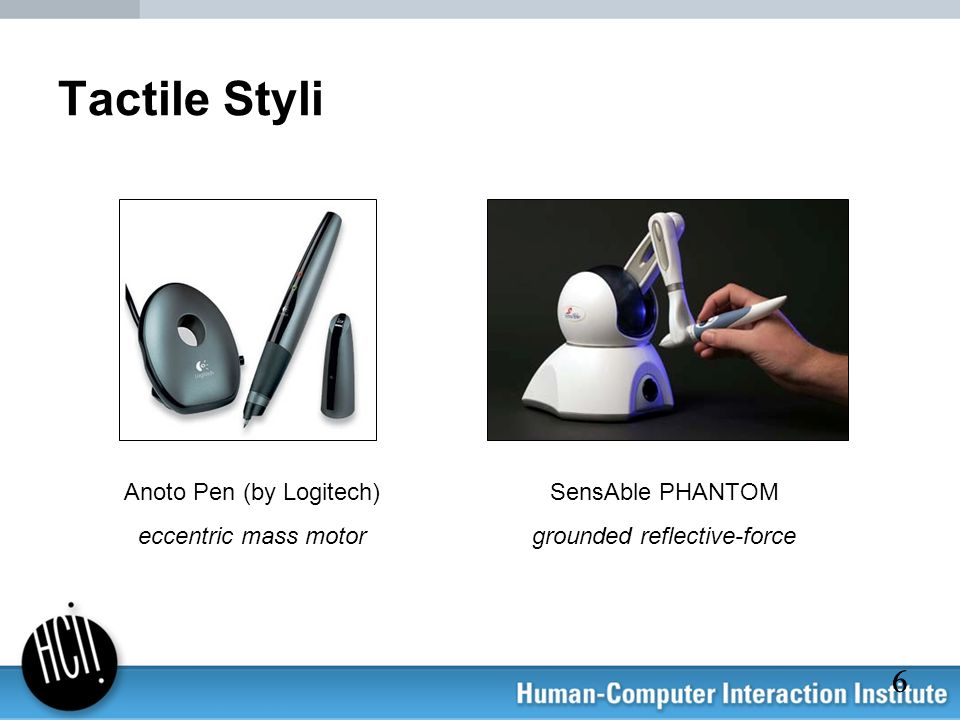 Tactile Styli Anoto Pen (by Logitech) eccentric mass motor