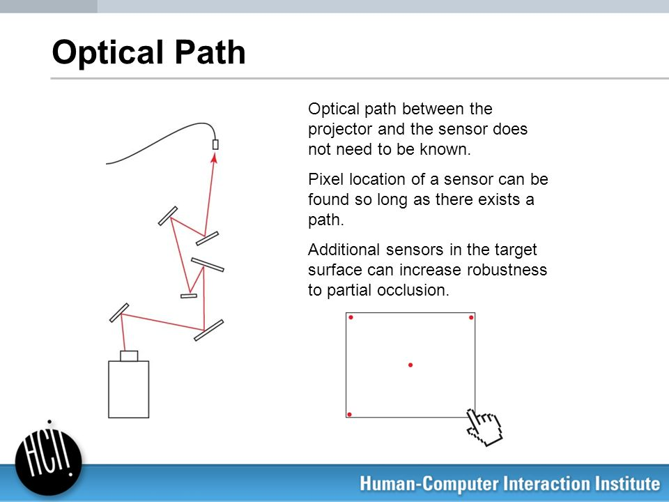 Optical PathOptical path between the projector and the sensor does not need to be known.