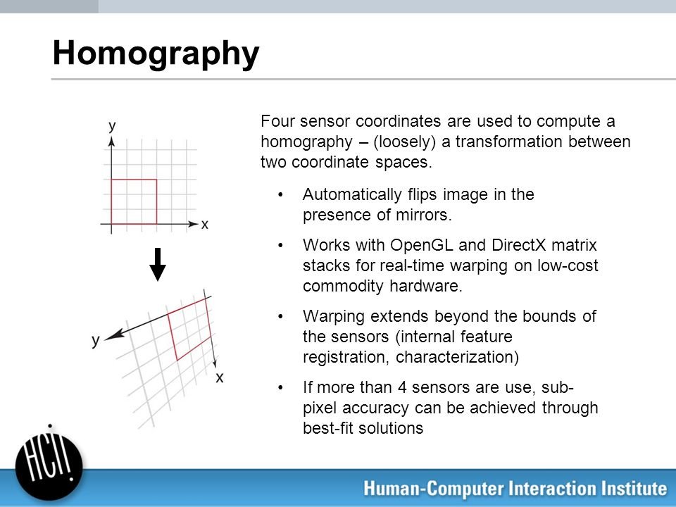 HomographyFour sensor coordinates are used to compute a homography – (loosely) a transformation between two coordinate spaces.