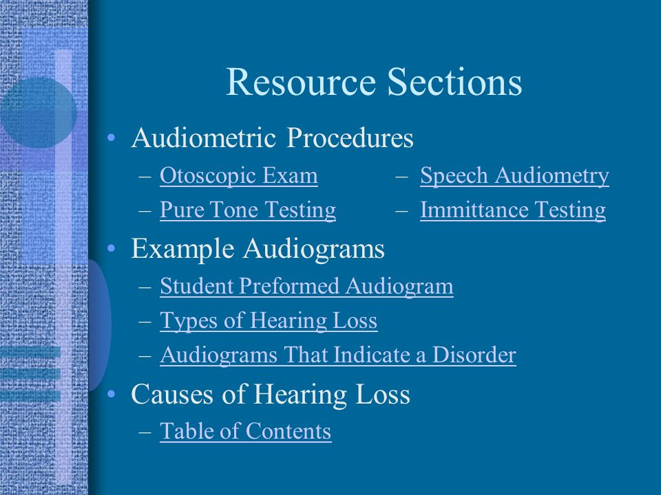 Resource Sections Audiometric Procedures Example Audiograms