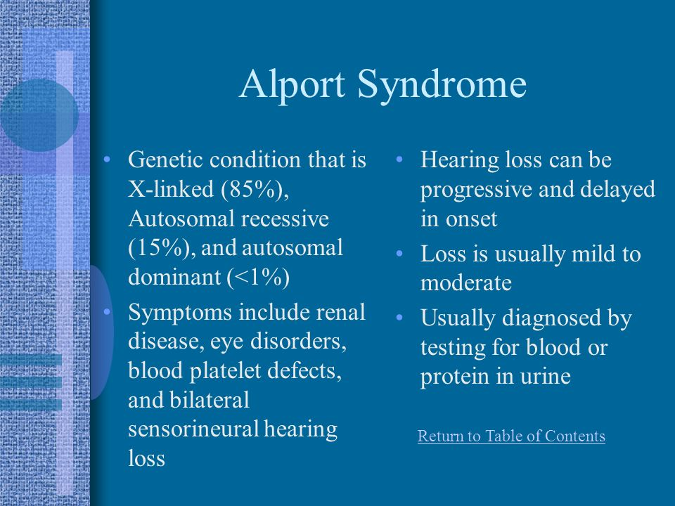 Alport Syndrome Genetic condition that is X-linked (85%), Autosomal recessive (15%), and autosomal dominant (<1%)
