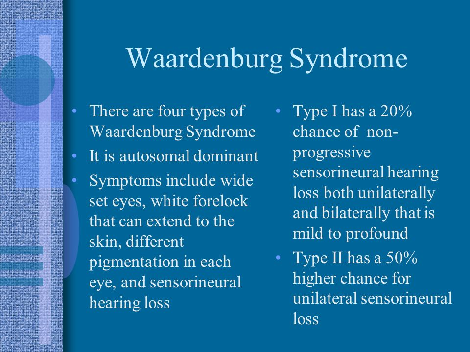 Waardenburg Syndrome There are four types of Waardenburg Syndrome