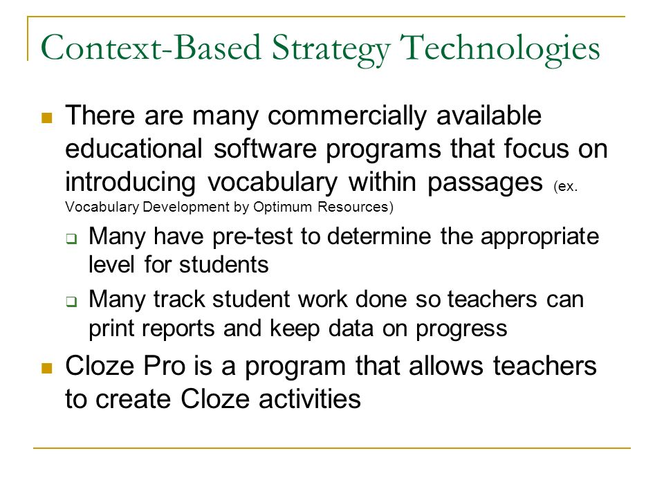 Context-Based Strategy Technologies