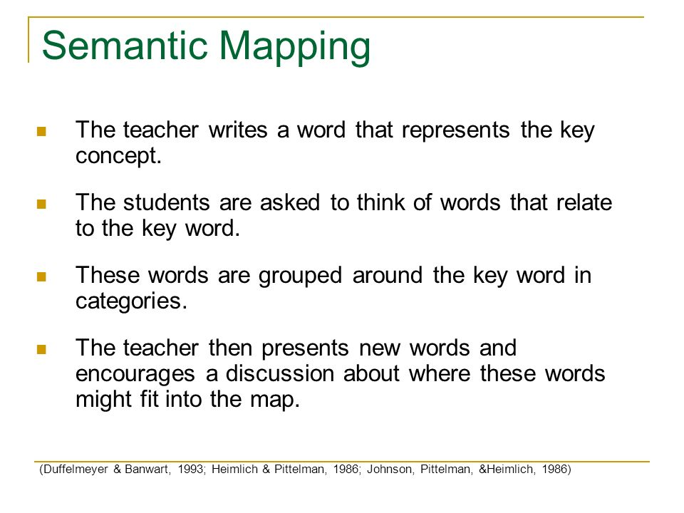 Semantic Mapping The teacher writes a word that represents the key concept. The students are asked to think of words that relate to the key word.