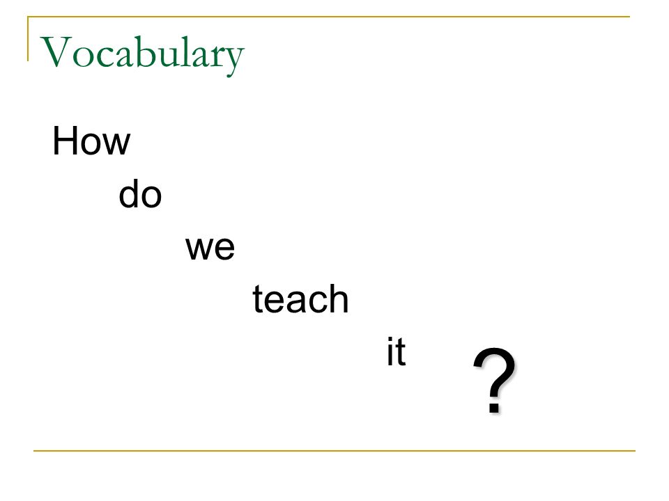 Vocabulary How do we teach it