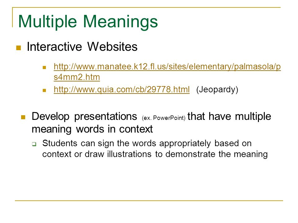 Multiple Meanings Interactive Websites