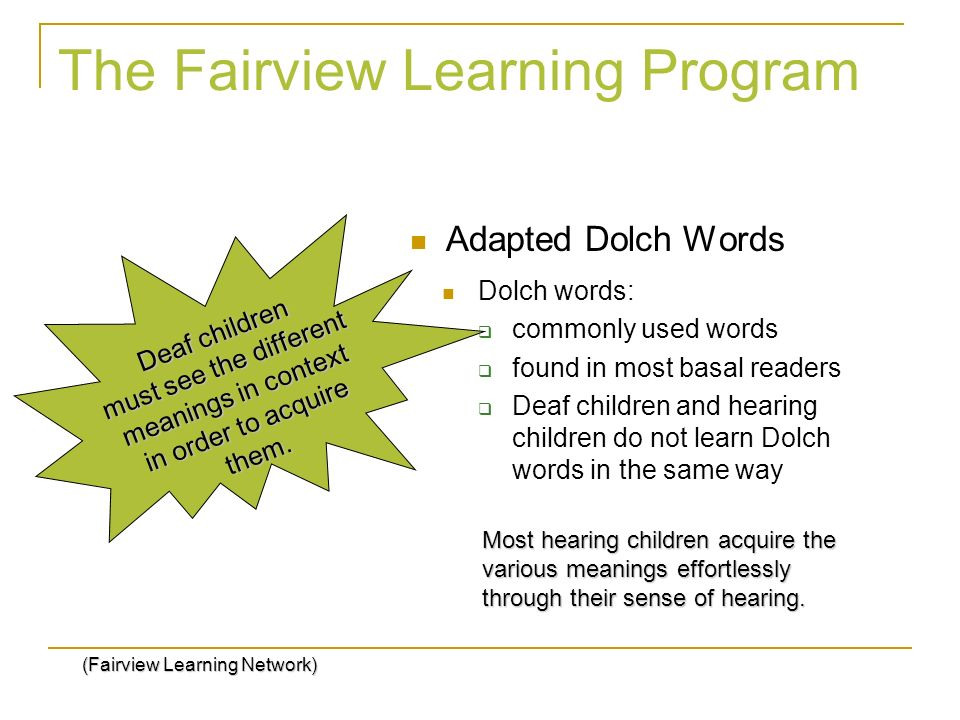 The Fairview Learning Program