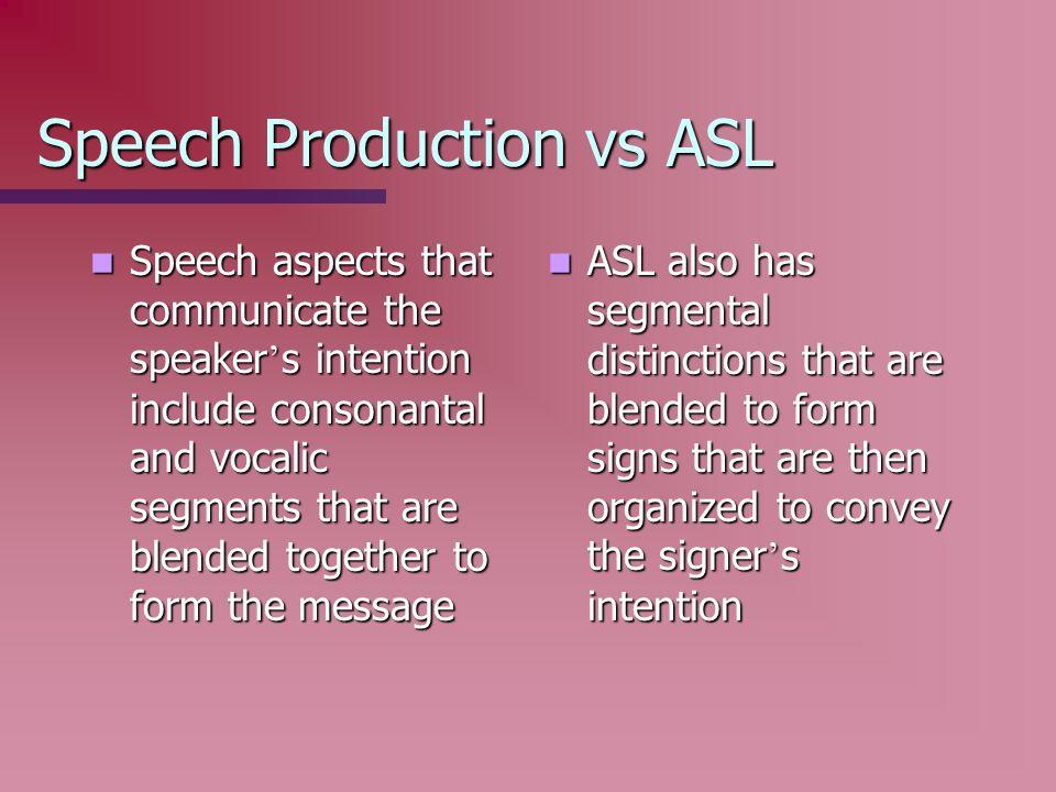 Speech Production vs ASL