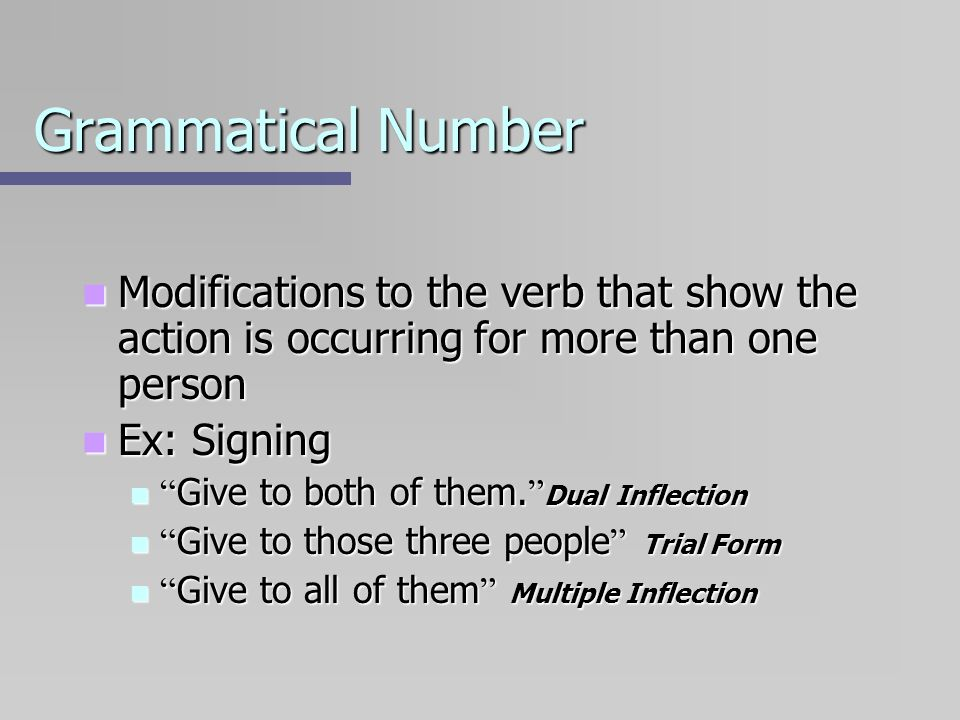 Grammatical NumberModifications to the verb that show the action is occurring for more than one person.