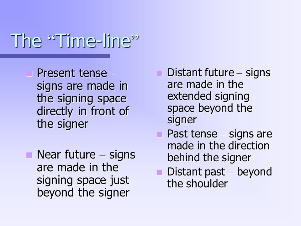 The Time-line Present tense – signs are made in the signing space directly in front of the signer.
