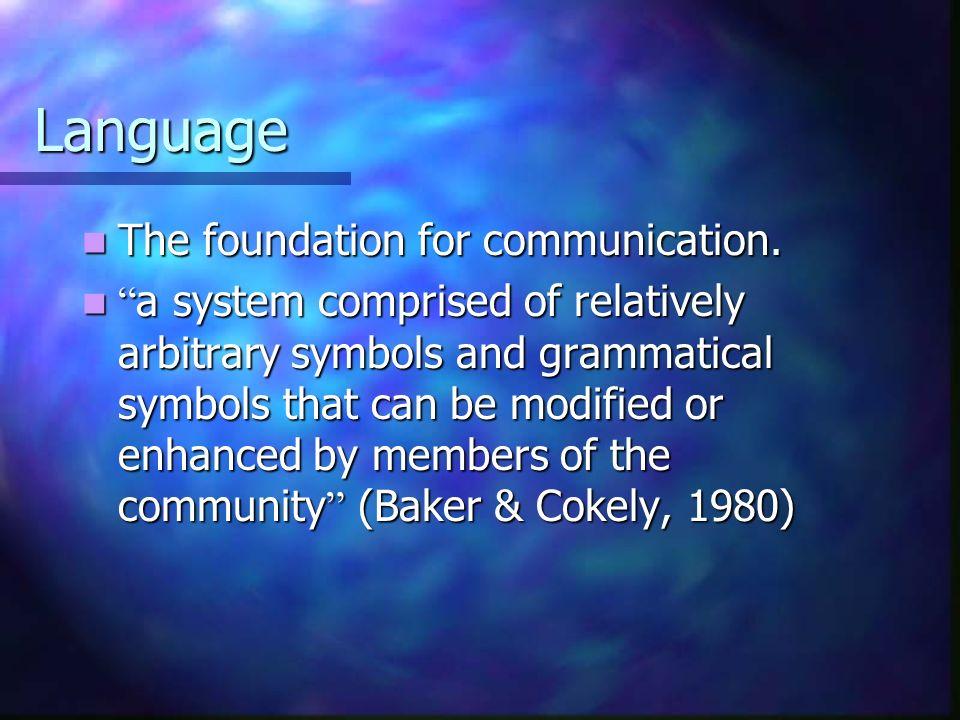 Language The foundation for communication.