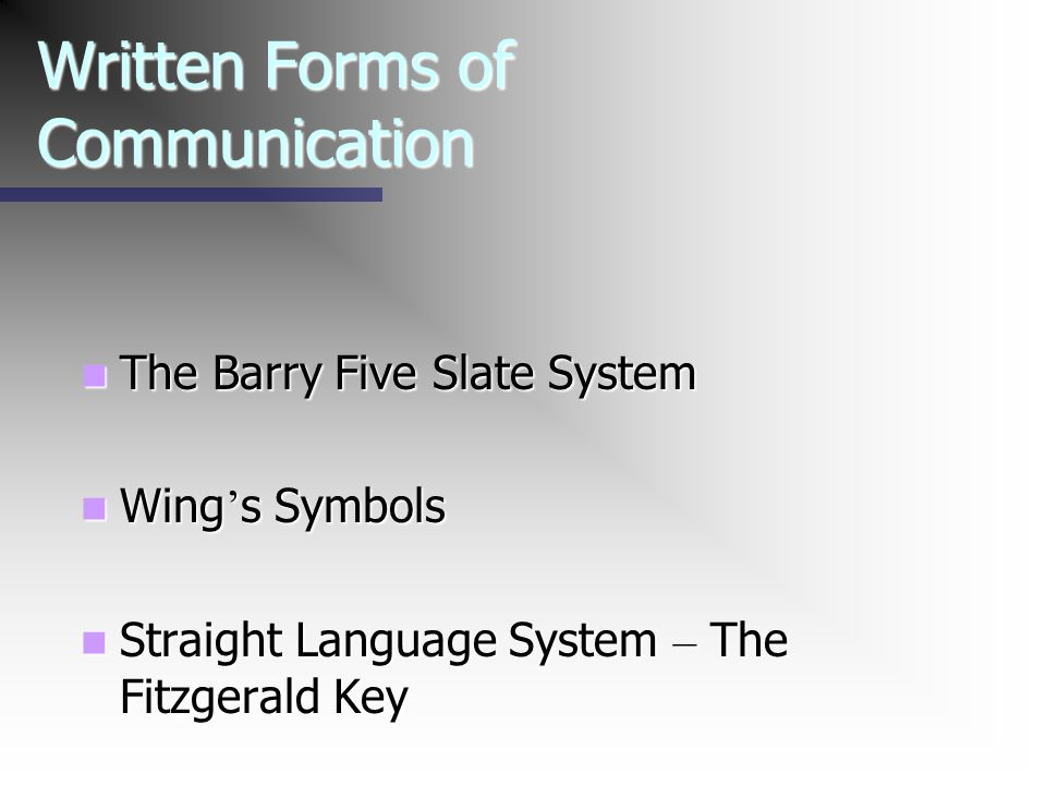 Written Forms of Communication