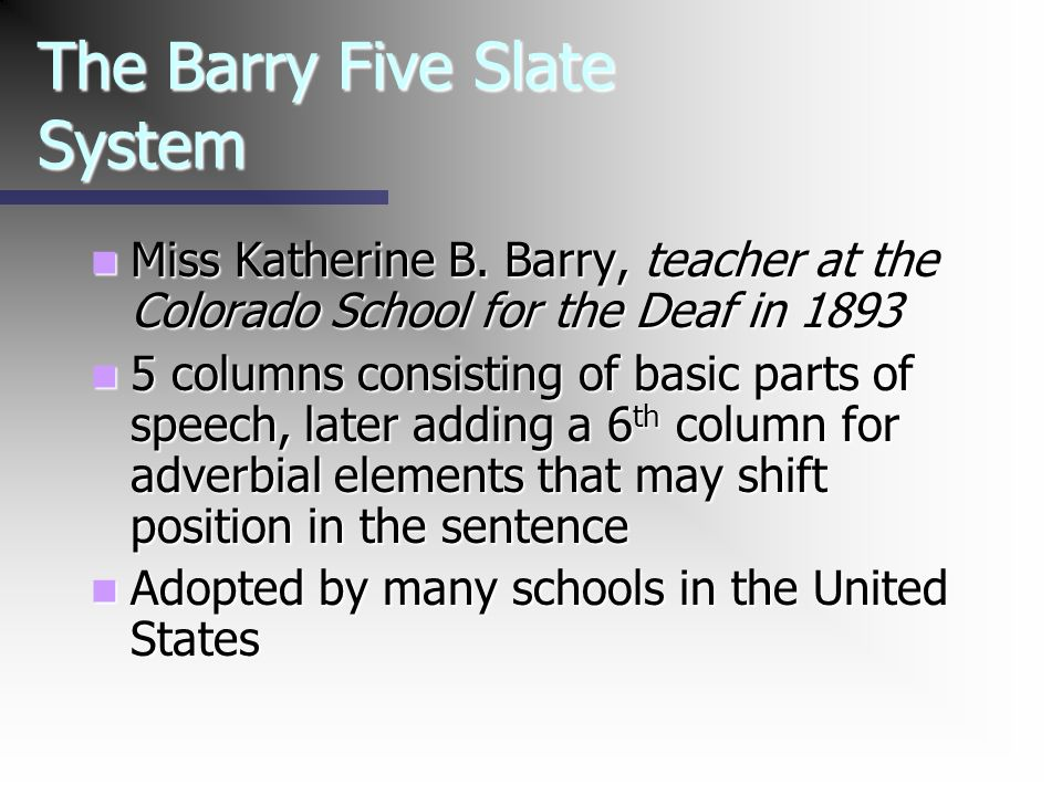 The Barry Five Slate System