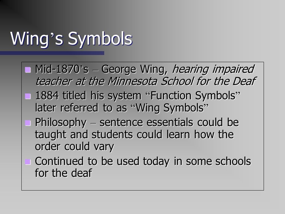 Wing's SymbolsMid-1870's – George Wing, hearing impaired teacher at the Minnesota School for the Deaf.