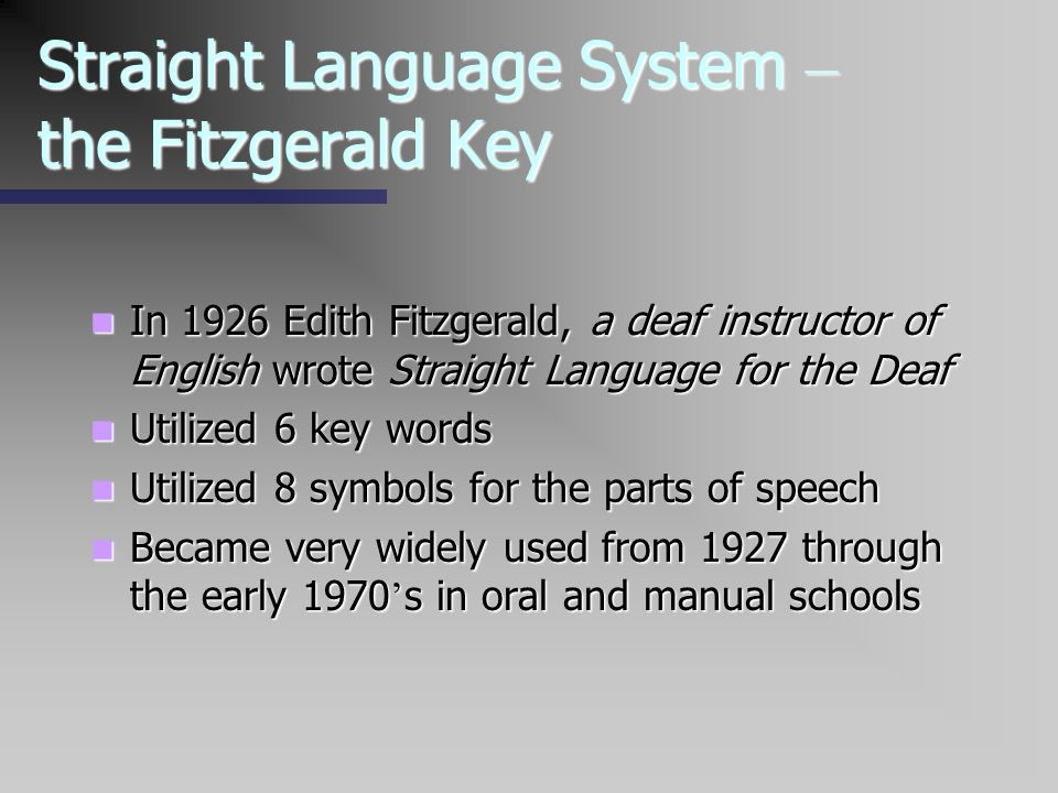 Straight Language System – the Fitzgerald Key