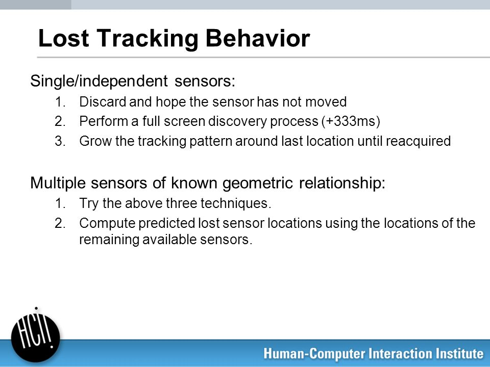 Lost Tracking Behavior