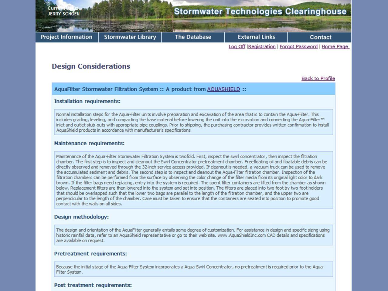Design Consideration page contains information on installation and maintenance requirements, sizing considerations, etc.