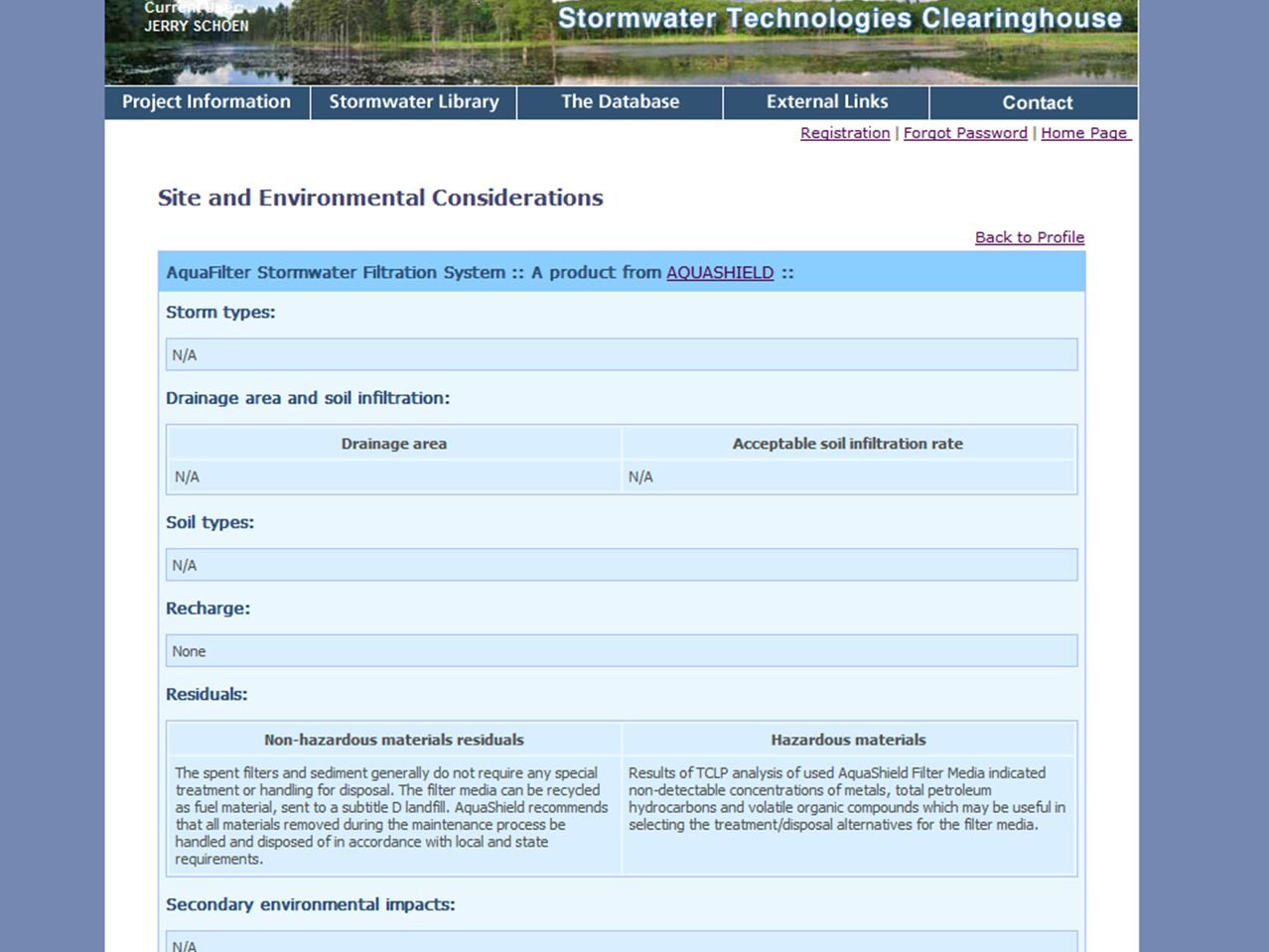 Site and Environmental Consideration page contains information on any required setbacks or depth to water table, disposal of BMP-captured materials, etc.