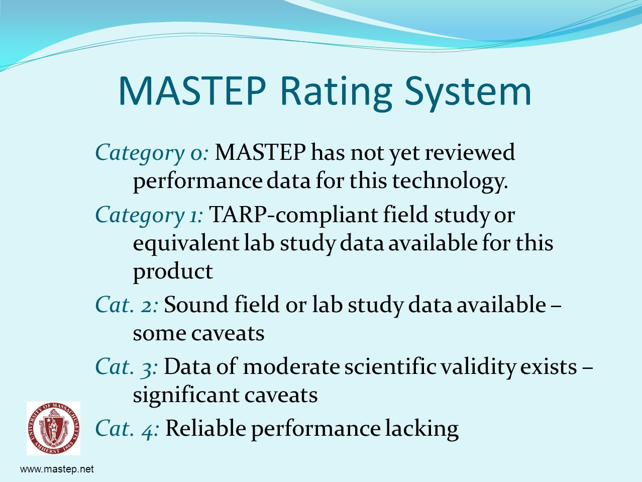MASTEP Rating System