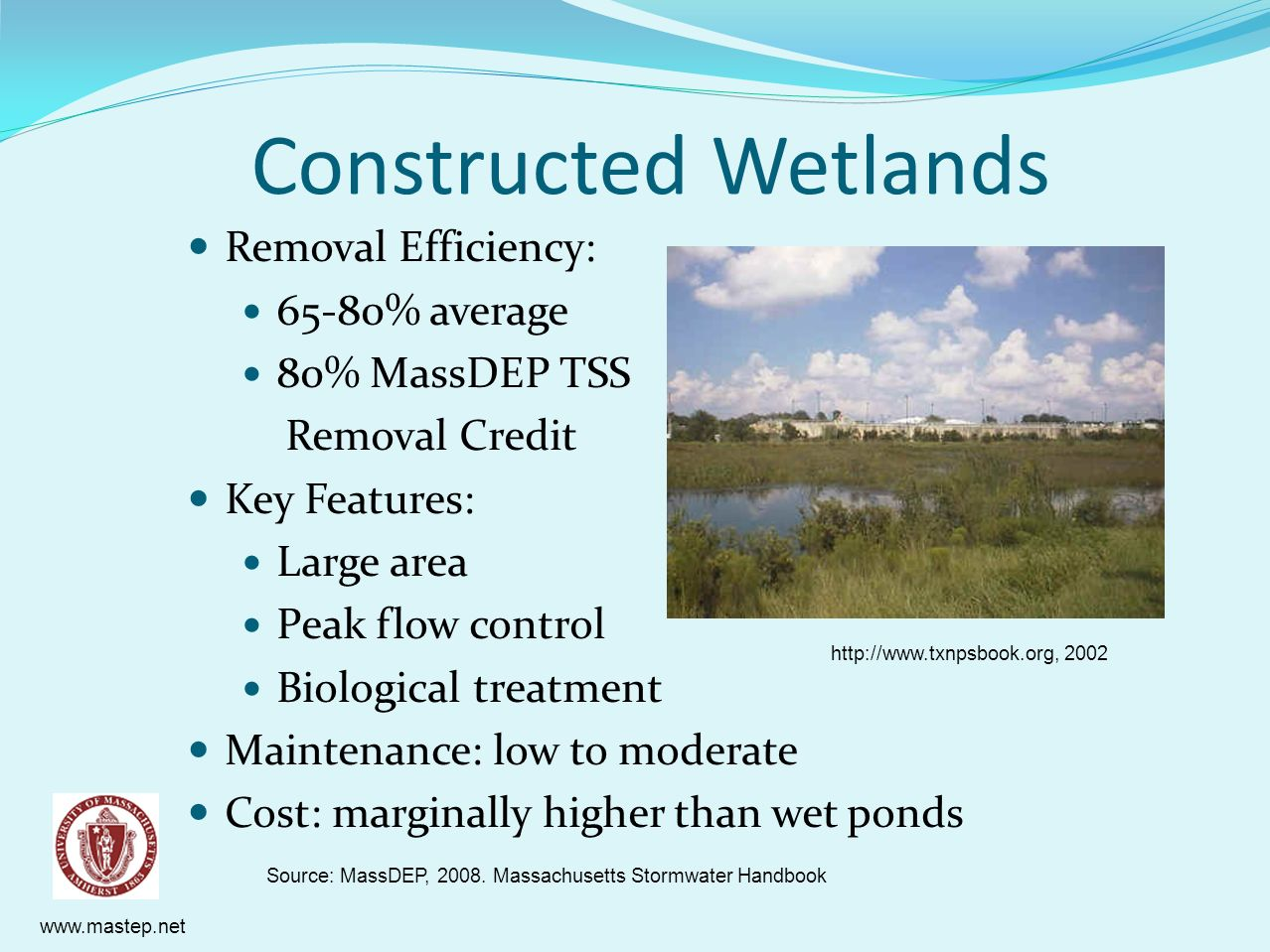 Constructed Wetlands Removal Efficiency: 65-80% average