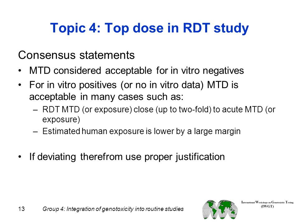 Topic 4: Top dose in RDT study