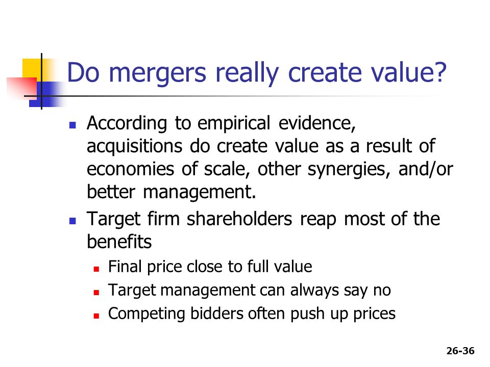do mergers create value Hi, mergers can create value, but it is not a given mergers create value when the companies that merge compliment or support each other's businesses and help the merging companies gain new customers, expand their own businesses, or increase sales and services for profit in particular, when .