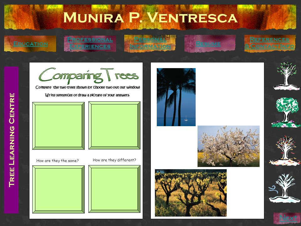 Munira P. Ventresca Comparing Trees Tree Learning Centre Next