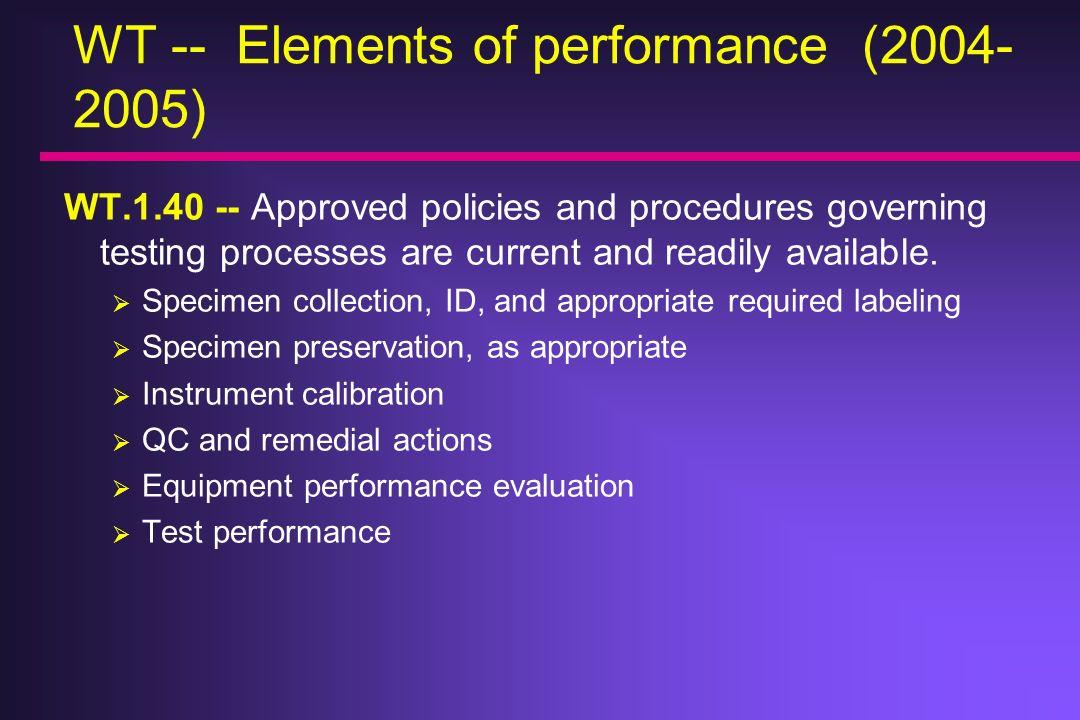 WT -- Elements of performance (2004-2005)