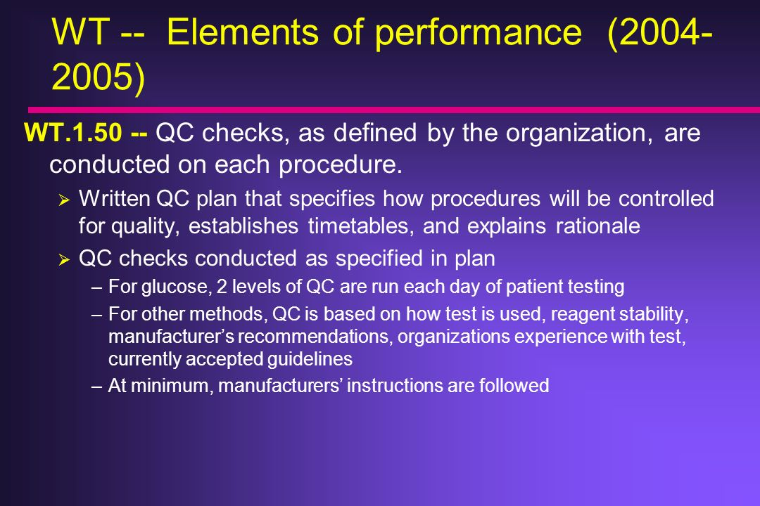 WT -- Elements of performance ( )