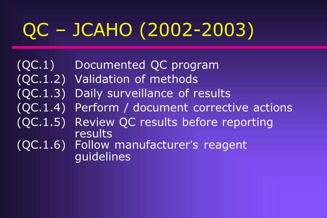 QC – JCAHO (2002-2003) (QC.1) Documented QC program