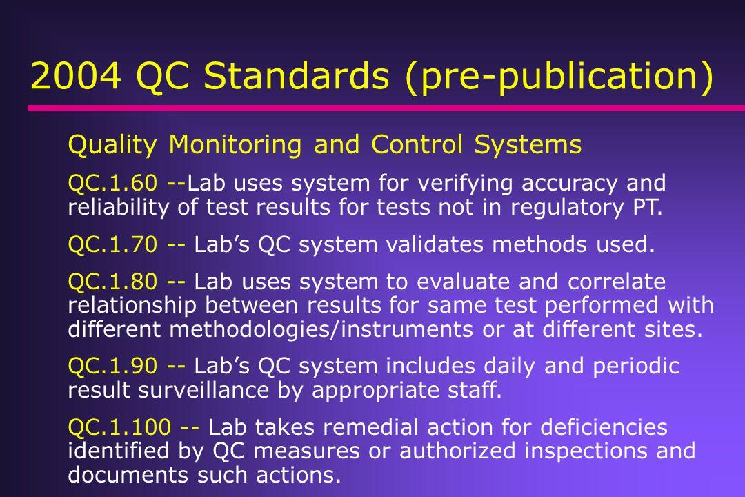 2004 QC Standards (pre-publication)
