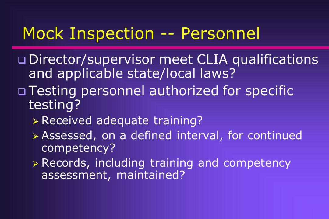 Mock Inspection -- Personnel