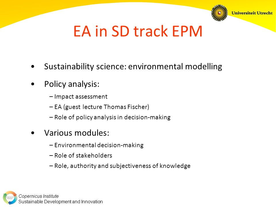 EA in SD track EPM Sustainability science: environmental modelling
