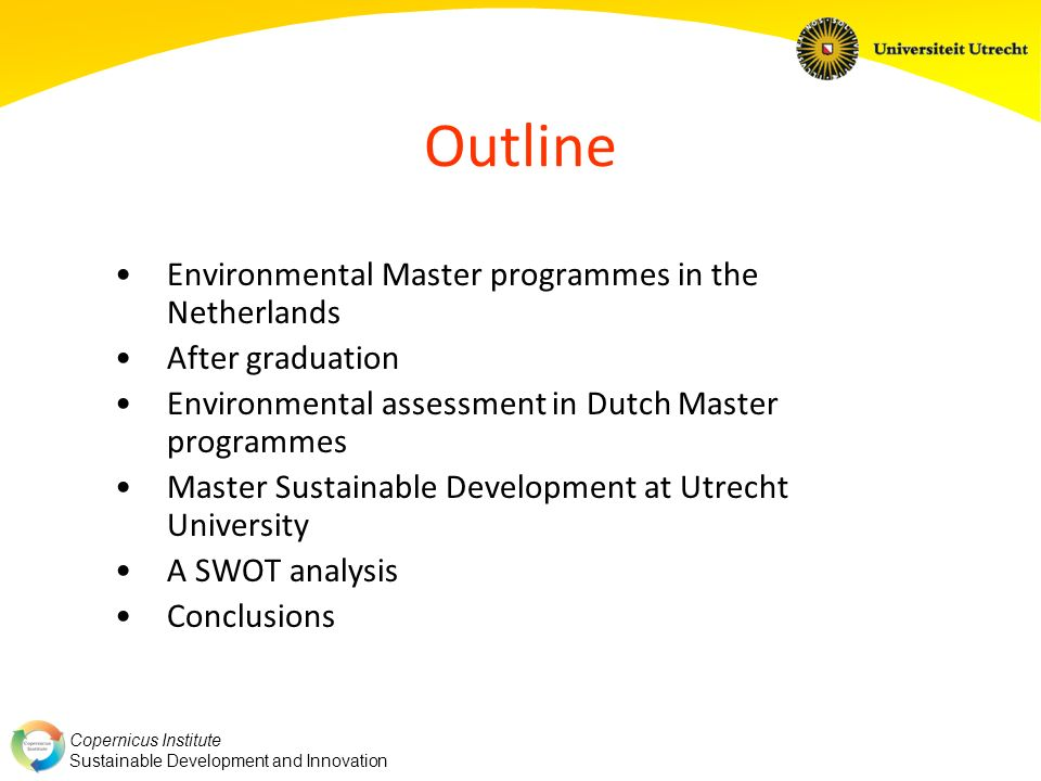 Outline Environmental Master programmes in the Netherlands