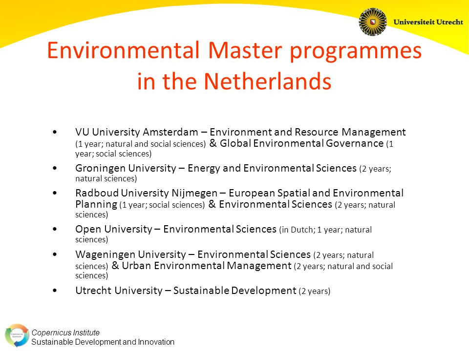 Environmental Master programmes in the Netherlands