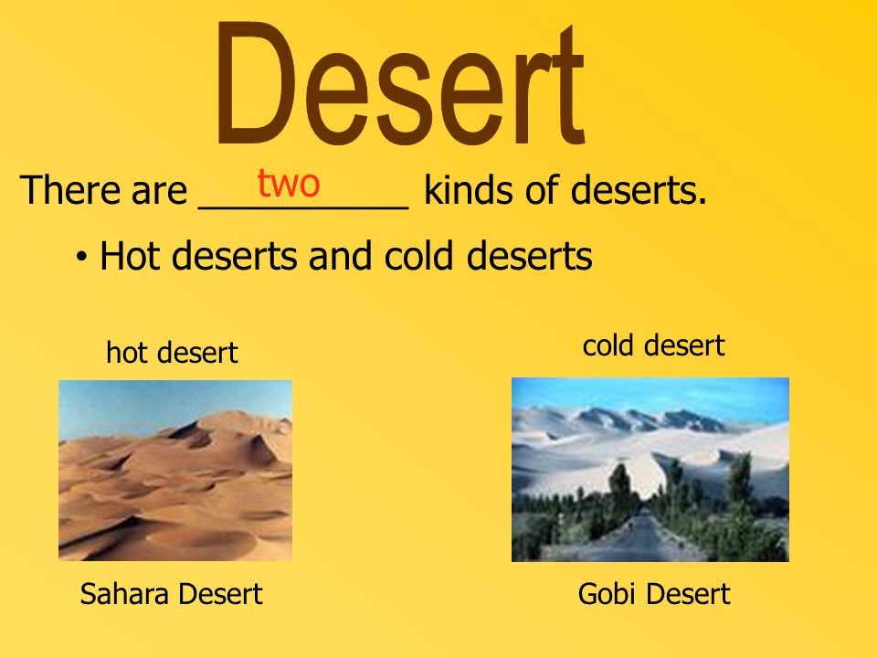 Desert two There are __________ kinds of deserts.