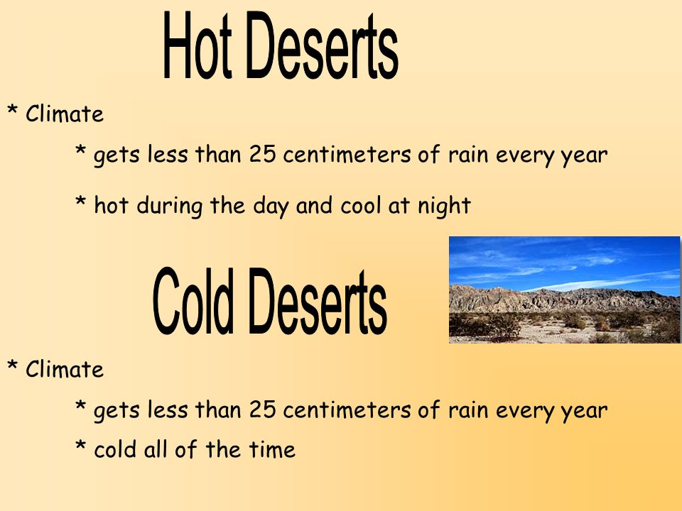 Hot Deserts Cold Deserts * Climate