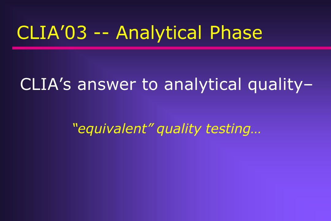 CLIA'03 -- Analytical Phase