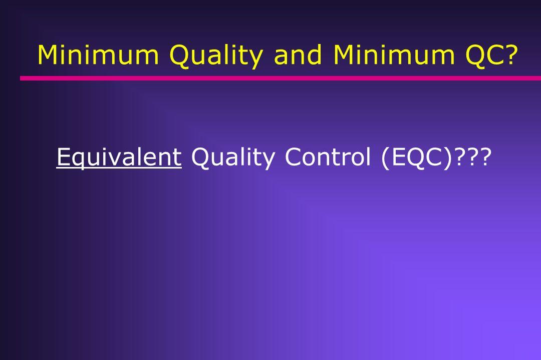 Minimum Quality and Minimum QC