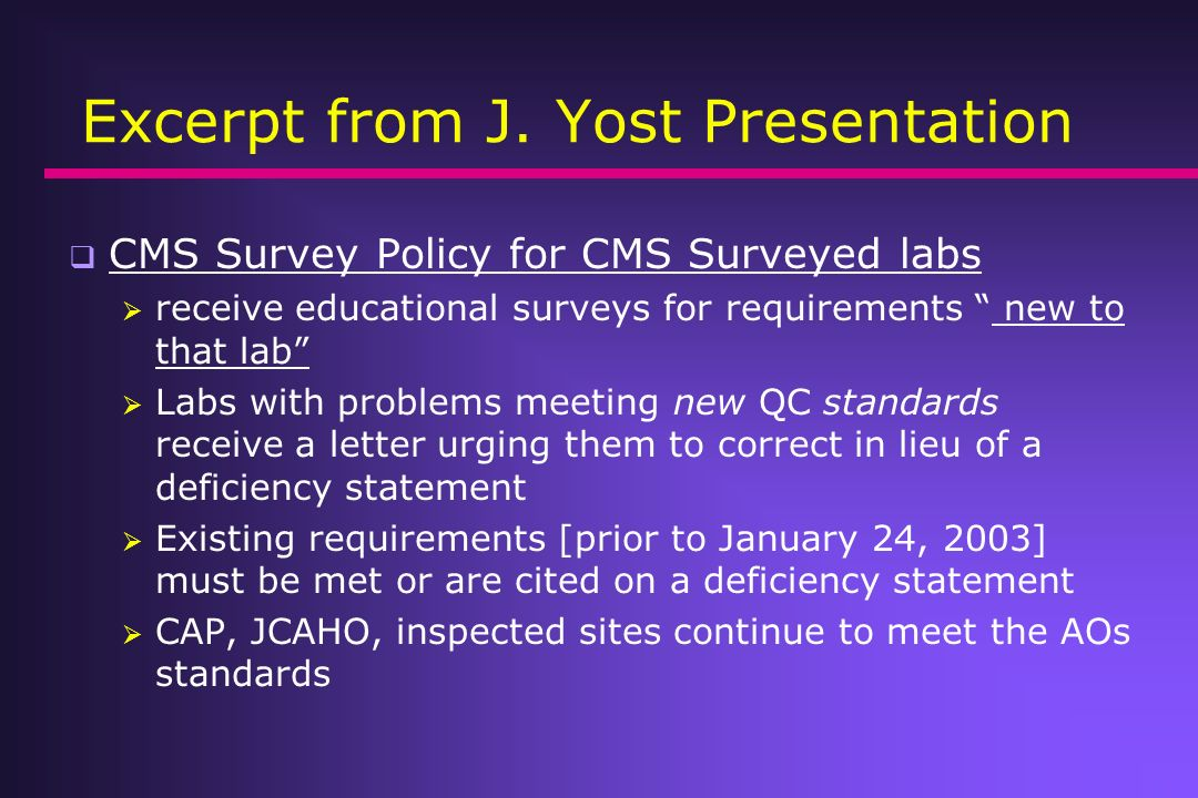 Excerpt from J. Yost Presentation