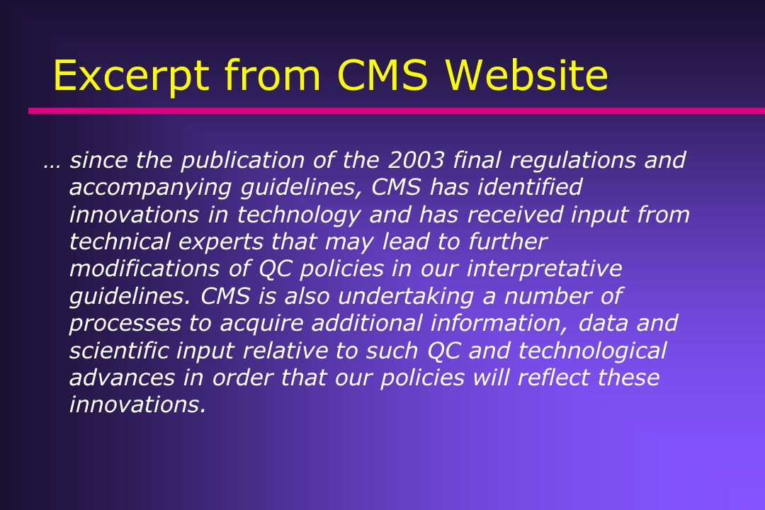 Excerpt from CMS Website