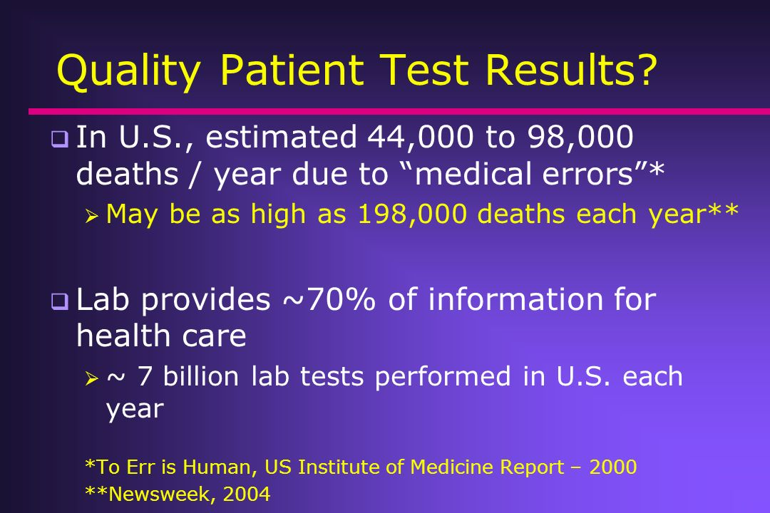 Quality Patient Test Results
