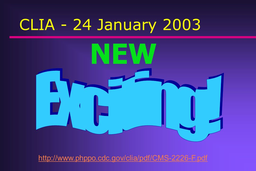 NEW Exciting! CLIA - 24 January 2003