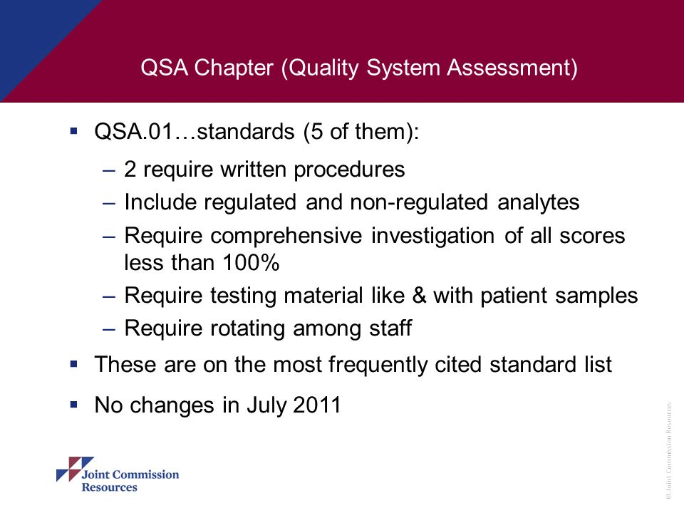 QSA Chapter (Quality System Assessment)