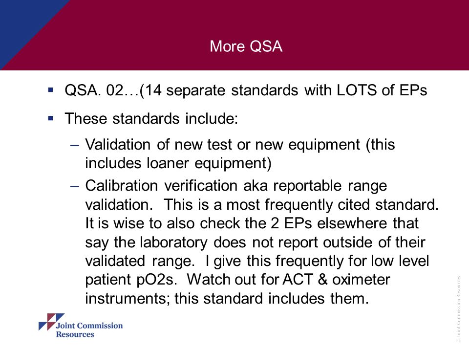 More QSAQSA. 02…(14 separate standards with LOTS of EPs. These standards include: