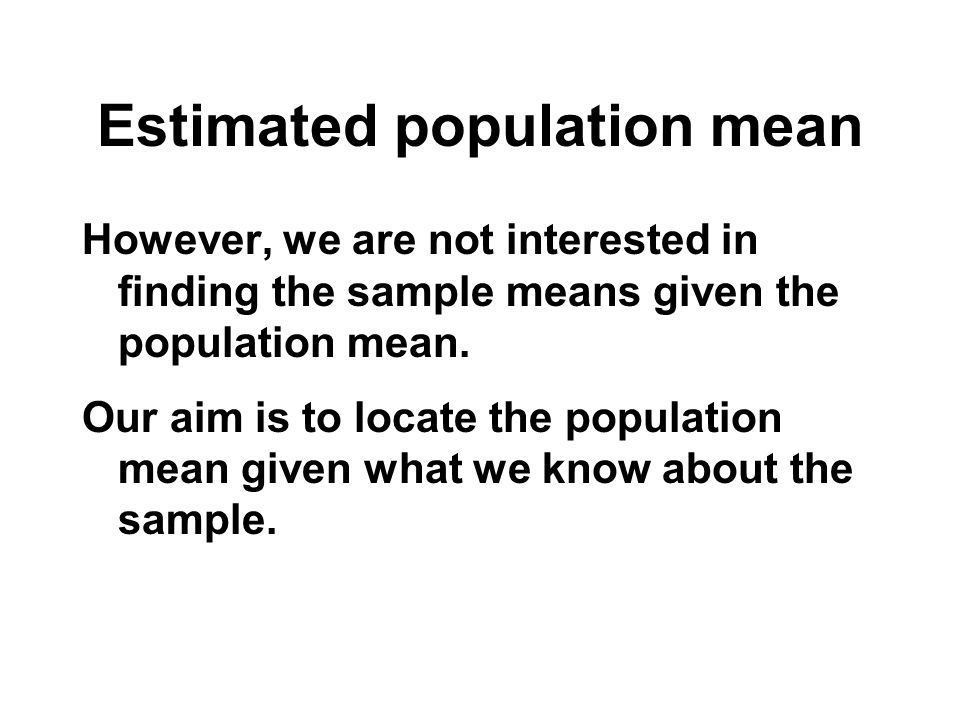 Estimated population mean